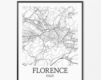 Florence Map Art Print, Florence Poster Map of Florence Decor, Florence City Map Art, Florence Gift, Florence Italy Art Poster