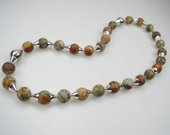 PICASSO Jasper necklace with Freshwater Pearls Sterling Silver spacers , lengthened with the matching bracelet