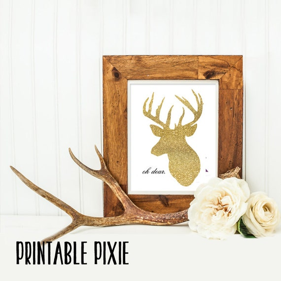 Deer Art Work Home Decor Gold Deer Deer By