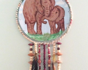 Hand painted mother elephant and baby dream catcher, mother's Day gift, handpainted leather wall decor, beaded dream catcher.