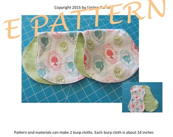 SALE- Perfect Quick & Simple PDF Pattern to Create the Most Adorable Baby Burp Cloths! Great Baby Gifts! Use Soft Flannel Cute Baby Prints