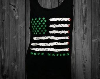 Marajuana American Flag Dope Nation Black Tank Top