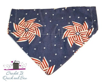 Patriotic Pinwheel Over the Collar Dog Bandanna