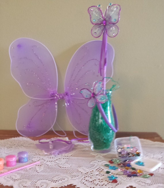 I 39 m a fairy craft kit purple wings wand pixie dust for Princess wand craft kit