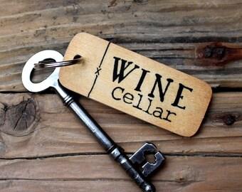 Wine Cellar - Rustic Wooden Keyring