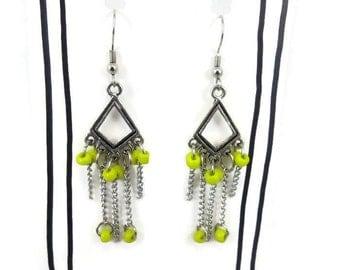 Yellow Beaded Earrings, Dangle Earrings, Silver Earrings, Yellow Earrings, Yellow Seed Bead Earrings, Chain Earrings, Drop Bead Earrings