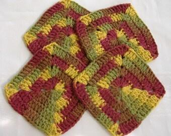 autumn cotton crochet coaster,granny square coaster set,cotton coaster,crochet coaster,round cotton coaster,housewares kitchen,brown coaster