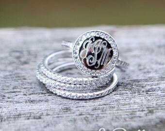 Monogram Stackable Ring Gold Plated, Rose Gold Plated or Sterling Silver-Stackable Cubic Zirconia Ring-Monogrammed Stackable Ring