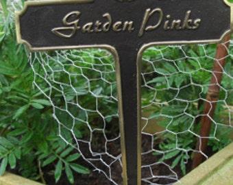 Garden Pinks Brass Garden Plant Sign