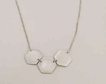 Three hexagons made of fine silver with sterling silver chain