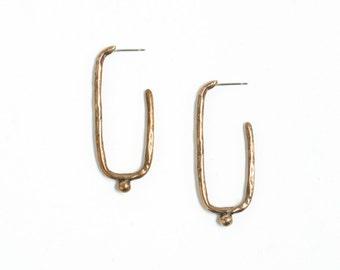 Square Earrings Bronze Rectangle Earrings Long Gold Hoop Earrings Bronze Ball Earrings Oblong Hoop Earrings Geometric Jewelry Square Jewelry