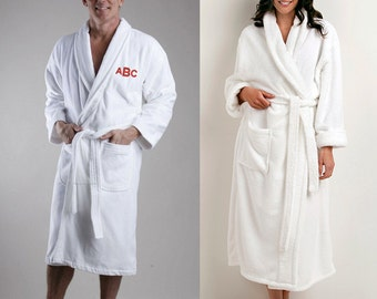Monogrammed Terry Velour Bath Robe for Him or Her, Personalized
