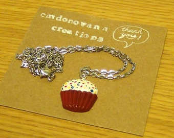 Cute Kawaii Red Velvet Cupcake Necklace