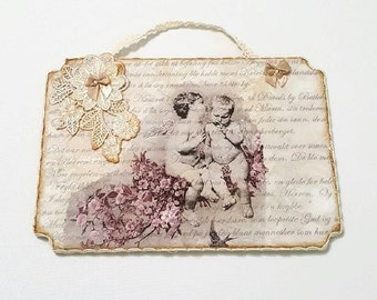 Cherub Wall Decor , Wooden Wall Art , French Decor , Wooden Plaque , Cottage Chic Decor , Vintage Style , Wooden Wall Hanging , Shabby Chic