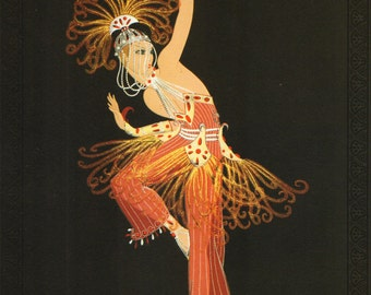 "Chic Original Vintage ERTE Art Deco Print ""FIREBIRD"" Fashion Book Plate"