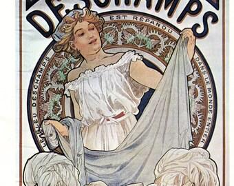 Alphonse MUCHA 1976 Authentic Vintage Art Nouveau Print 1897 BLEU DESCHAMPS