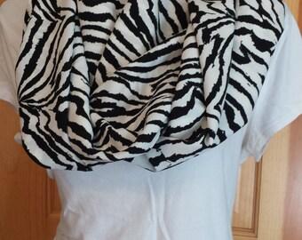 Infinity Scarf - black and white zebra print
