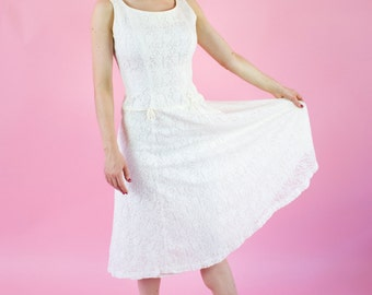 Vintage 1950s White Lace Dress / Drop Waist / S
