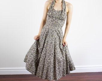 Vintage 1950s Atomic Sweetheart Cotton Halter Dress / Sundress / Full Skirt / XS/S