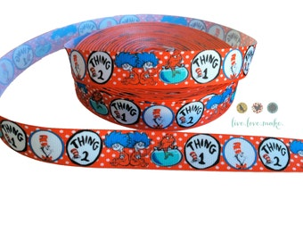 """7/8"""" Dr. Seuss-Thing 1-Thing 2-Red Fish-Grosgrain Ribbon by the Yard Hairbow-Scrapbooking-Craft Projects- DIY-party supplies"""