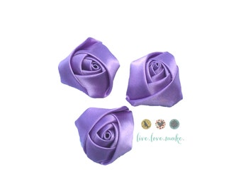 "Purple-Lavender-Mini Rolled Satin Rosettes-Rose-1.5"" Satin Flower-Satin Rosette-Rosette-Fabric Flower-Rolled Rosette-small-petite-mini"
