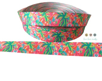 "7/8"" Vibrant Tropical Floral Grosgrain Ribbon-by the yard-Hair bows-DIY-gift wrap-parrot- palm trees-hawaii"