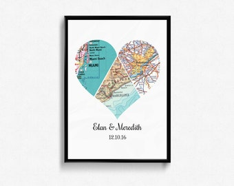 Heart Map | 3 piece Heart | Personalized Map Art  | Travel Map | Heart Map Decor | Wedding Gift | State to State | Long Distance Gift