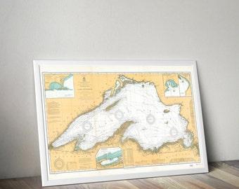 Lake Superior Map | Minnnesota, Wisconsin, Michigan Map | Lake Superior Decor | Lake Superior Chart | Lake Superior Wall Map