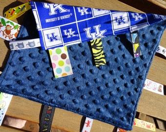 University of Kentucky Sensory Lovey, Minky Lovey, Blue, White, UK Sensory Lovey, Ribbon Lovey, Security Lovey, Sensory Ribbon Lovey, NCAA