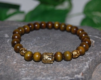 Happy Buddha Bracelet,Spirituality,Prayer 8mm Wood Beads,Good Luck Bracelet,Man,Yoga Bracelet,Protection,Meditation,Gift for Him ,Stretch