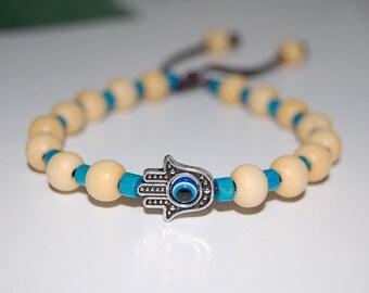 Hamsa Hand Bracelet,Evil Eye,Wood 8mm Beads,Drawstring,Shamballa Bracelet,Healing,Prayer, Good Luck , Men, Woman,Yoga,Protection,Meditation