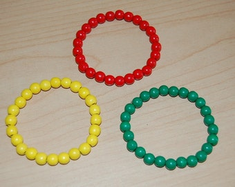 3 x BRACELETS ,Red,Green,Yellow, Wood,8mm Beads Elastic FIT ALL,Man Woman,Lucky,Pray,Surfer