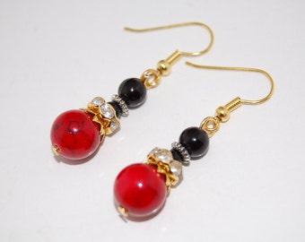 Red Stone Earrings,Red Gemstone Beaded Earrings,Drop Earrings ,Dangle Earings ,Boho Jewelry ,Gift For Her,Woman,Girl,Chic,Ethnic Earrings