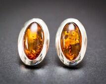 Large Amber Stud Earrings, Large Stud Earrings, Oval Stud Stone Earrings, Large Amber Earrings, Big Earrings, Stud Earrings, Unique jewelry