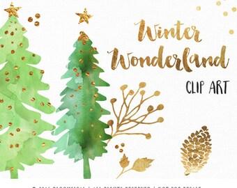 Holiday Clip Art   Winter Wonderland Christmas Graphics Watercolor Gold Foil   Holiday Digital Design