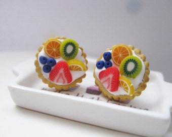 Fruit Tarts Stud Earrings _ 1/12 Dollhouse Scale Miniature Food _ Polymer Clay _ Foodie Gift _ Food Jewelry _ Tart Collection