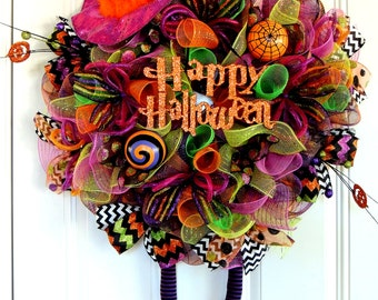 LAST ONE Halloween Witch Wreath Wicked Witch Wreath Happy Halloween Mesh Wreath RAZ Hat Legs Boots Deco Mesh wreath Whimsical Fall wreath