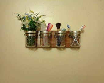Mason Jar Organizer - Mason Jar Decor - Bathroom Organizer - 4 Pint Jars Included - Many Different Finishes Available - Hangers Installed