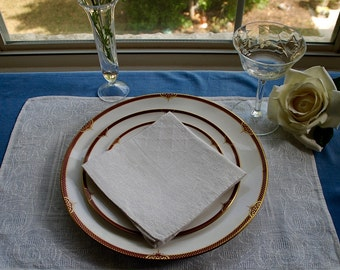 Pearl White Jacquard Placemat and Napkin Set - 4 each