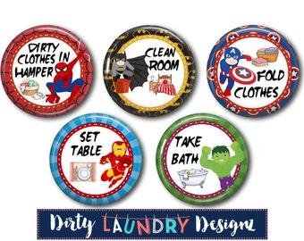 "Custom Chore Magnets for Children's Chore Charts -  NEW Design! SUPERHERO  Design 1.5"""