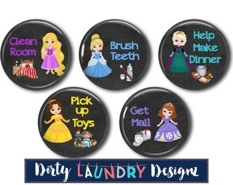 Magnetic Chore Chart Buttons/ Kids Chore Chart Magnets/ Chalkboard Princess Theme