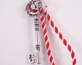 Magic Santa Key (Red & White Handbraided Kumihimo Braid w/ key + Santa Charm)