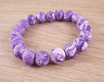 Donella (Purple & Pastel Pink Polymer Clay Marbled Round Beads Stretch Bracelet)