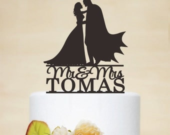 Batman Cake Topper,Batman and bride Silhouette,Bridal Shower Topper,Custom Cake Topper,Wedding Cake Topper,Personalized Cake Topper C115