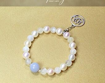 Gemstone Rainbow Moonstone bracelet, Blue Chalcedony bracelet, Genuine Pearl bracelet, Silver Tone Lotus clip-on charm, InfinityCraftArts