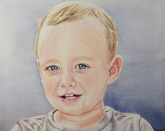Hand painted portrait watercolor, child portrait, kids portrait painting, realistic watercolor portrait