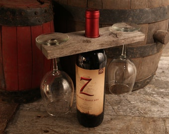 Wine Caddy Made Out Of Barn wood,  Wine Glass Holder