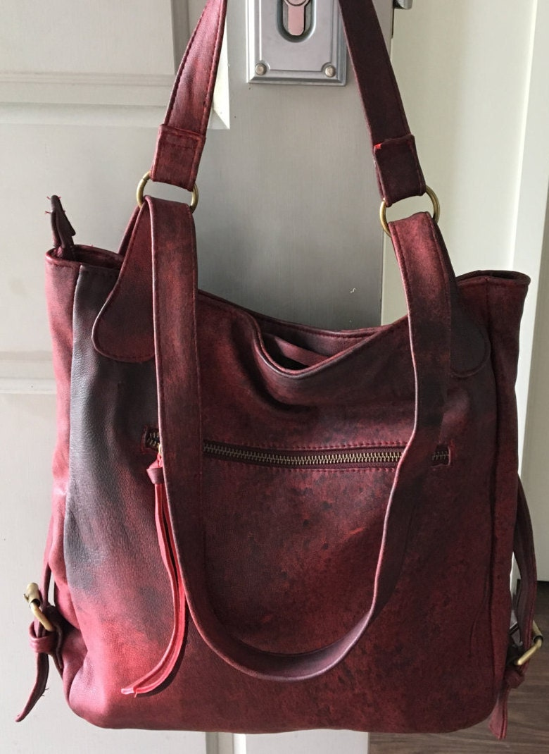 Convertible leather backpack bag. Shoulder tote made from real ...