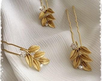 "Grecian Collection Greek Goddess Gold Laurel Leaf Hair Pin-Boho Bridal Hairpin-Bohemian Vintage Wedding Leaves Hair accessory-""PHERUSA"""