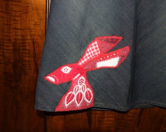 Folk Hare patchwork denim skirt